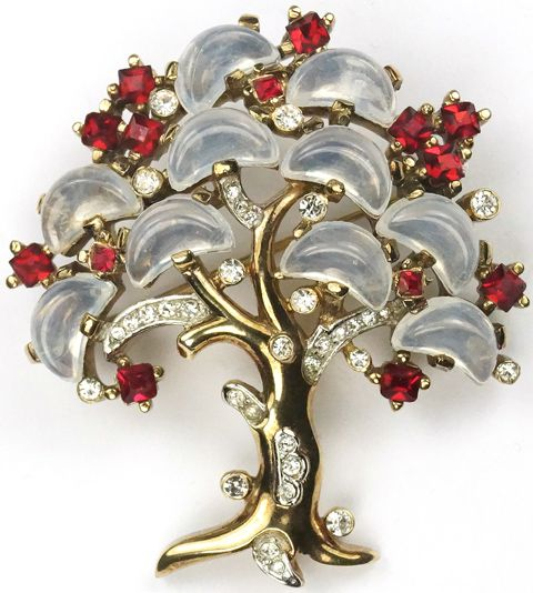 Trifari 'Alfred Philippe' 'Clair de Lune' Ruby and Moonstone Demilune Large Tree of Life Pin