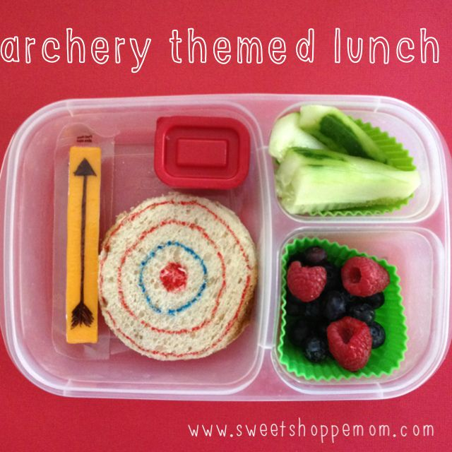 Archery themed lunch for camp #schoollunch #easylunchboxes