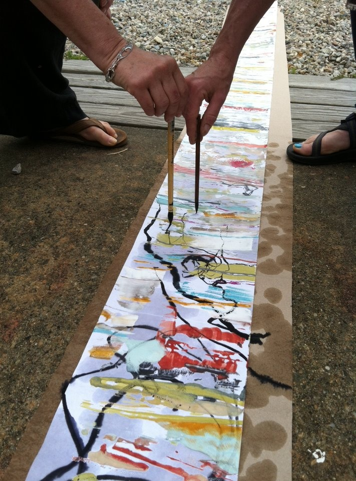 would love to do with with water colour inks - sticks, string etc. on a large roll of paper as a collaborative class project - look at artists such as John Wolseley & Brice Marden - image inspiration: Sara Mast and Lisa Pressman , Fuse Workshop in Montana, July 2013