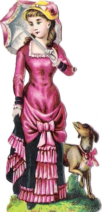 Oblaten Glanzbild scrap die cut chromo Lady  Dame femme Hund dog Schirm umbrella