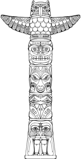 """indian totem pole coloring pages 