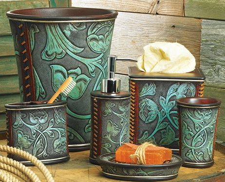 western decor floral tooled turquoise bathroom accessory set perfect for our bayhroomlaundry room - Western Bathroom Decor