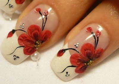 toe nail art designs | black color glitter nail art with white floral nail designs