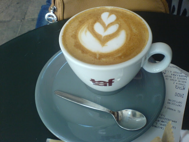 Probably the best cappuccino in the centre of Athens .   Taf café   (7-9,  Em. Benaki st. )