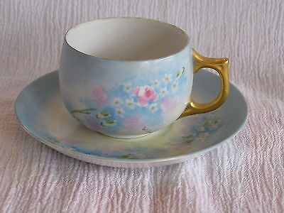 Vintage LHS Hutschenreuther Selb Bavaria Cup & Saucer Set Shabby Chic HP Pink