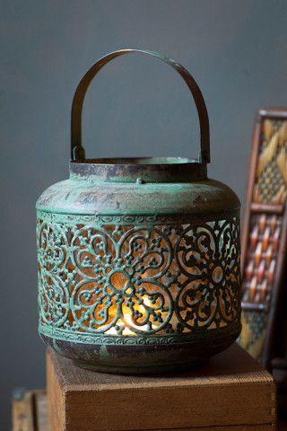 "Antiqued Green Metal Lantern by Vagabond Vintage®. Pierced Quatrefoil Design and Glass Liner. Dimensions:(5.25"" x 5.25"" x 5.25"""