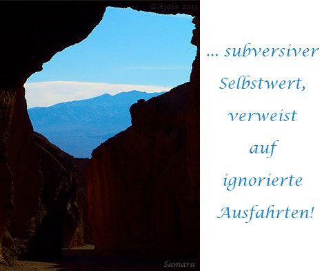 ... subversiver #Selbstwert verweist auf ignorierte Ausfahrten!