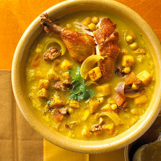 Golden butternut squash, roasted with onions and curry powder, transports your taste buds to the wild side of chili: http://www.bhg.com/recipes/soup/soup/chicken-soups/?socsrc=bhgpin031614chickenbutternutsquashsoup