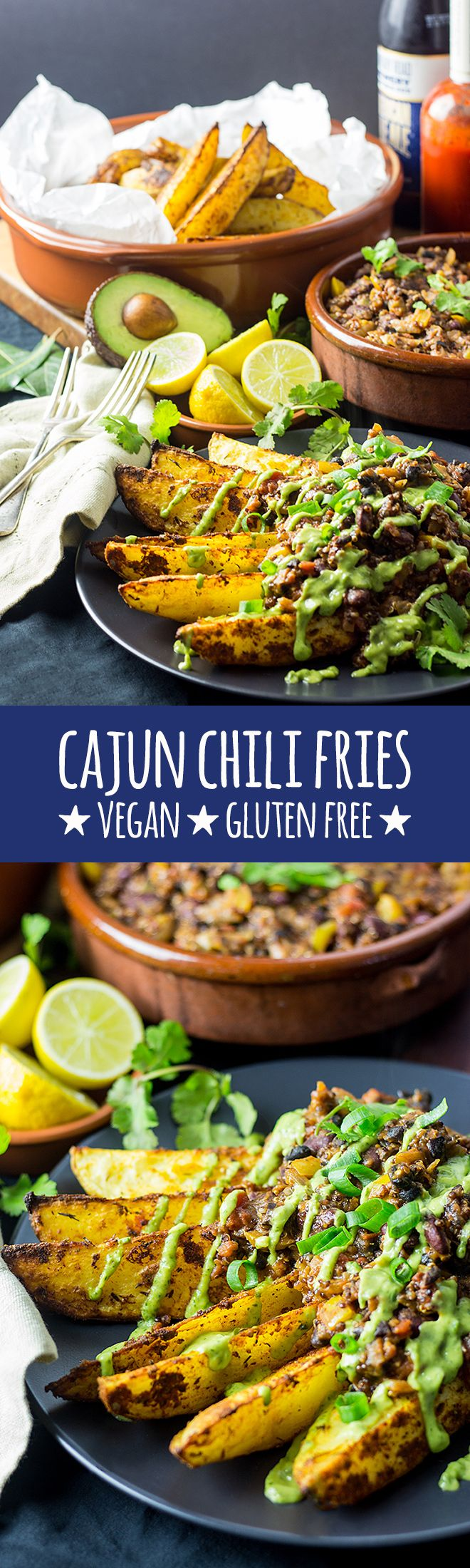 Smoky, crispy homemade cajun spiced fries with a bangin' vegan bean chili and a…