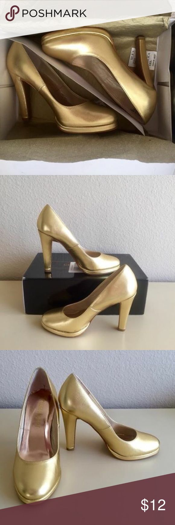 NWT Colin Stuart gold Pumps Heels - Moving Sale! Moving Sale!  Available until 1/31/2018. Size 5 gold pumps from Colin Stuart.  4 in heels.  Brand new with box.  All items come from pet and smoke free house.  Perfect for your parties or evening out!  Have several other pairs of heels & wedges from Nine West, Colin Stuart, Naturalizer, Franco Sarto etc. Selling individually or all for $95.  Downsizing my closet for move. Please check out my other similar sized items for sale. Bundle, save…