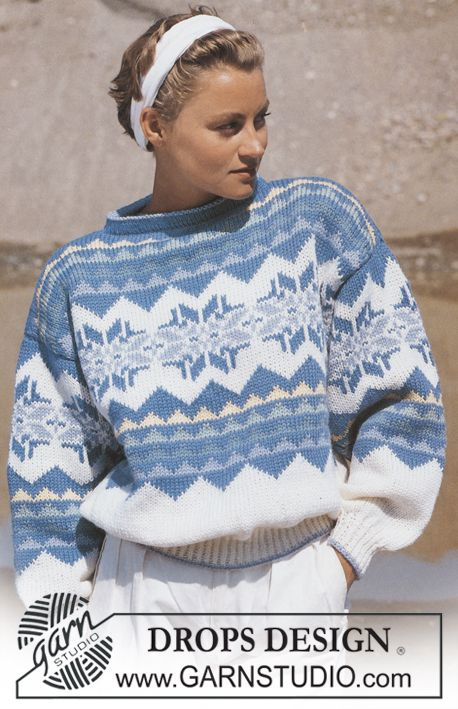 "DROPS 15-17 - DROPS jumper with star pattern border in ""Alaska"". Size S-L. - Free pattern by DROPS Design"