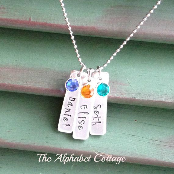 Mother's Bar Necklace with Children's Names by TheAlphabetCottage
