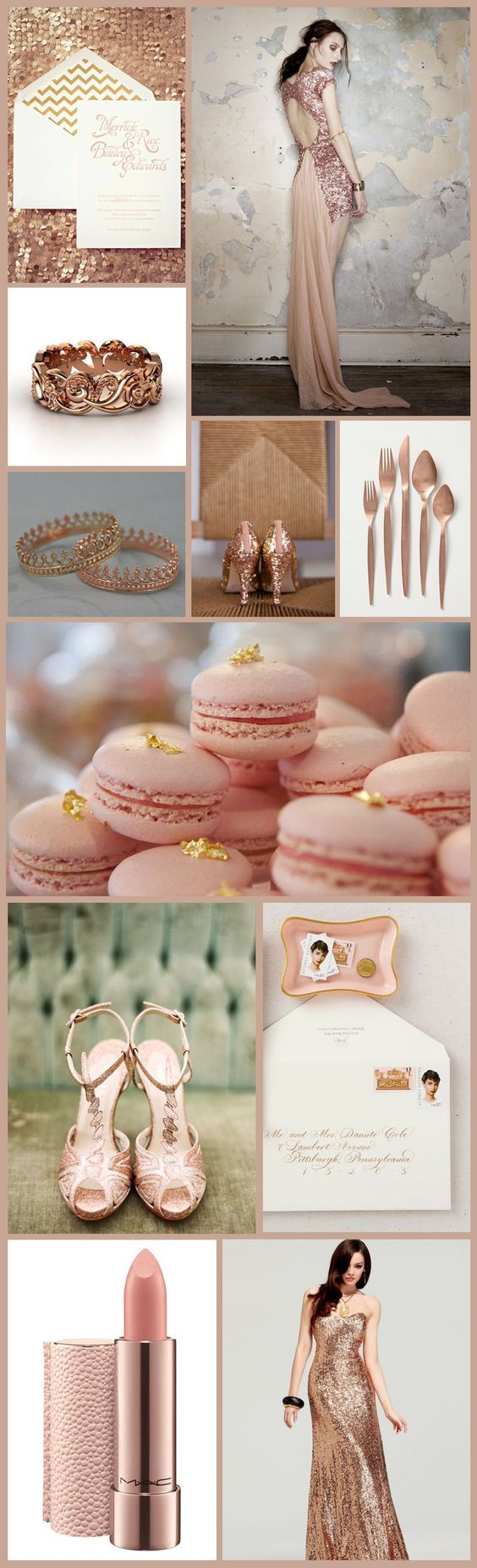 Rose Gold Wedding Inspiration Board #PinkWedding #InspirationBoard: