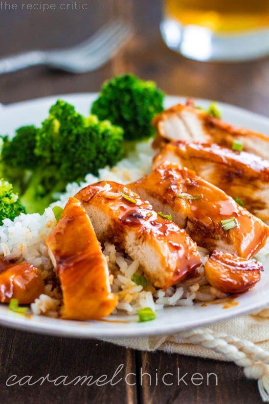 CARAMELO DE POLLO Un increíblemente deliciosa una comida sartén que toda la familia le encantará ! == == INGREDIENTES 4 pechugas de pollo sin piel , aceite vegetal 2 T, 8 dientes de ajo pelados ⅓ c de azúcar morena , luz, ¼ de vinagre de arroz c , ½ de agua c , 2 ( 1/4 de pulgada) de espesor rodajas de jengibre pelado , 1 c caldo de pollo bajo en sodio , ¼ c reducida la salsa de soja de sodio , 2 cebolletas en rodajas finas para adornar.