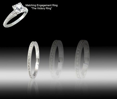 Victory Patterned Wedding Bands