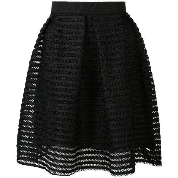Choies Black Sheer Stripe Knee Length Skater Skirt featuring polyvore, fashion, clothing, skirts, bottoms, saias, faldas, black, knee high skirts, black skirt, knee length skirts, sheer skirt and circle skirt