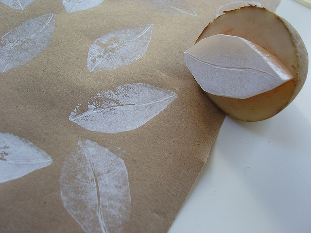 white leaves    making potato print gift wrap