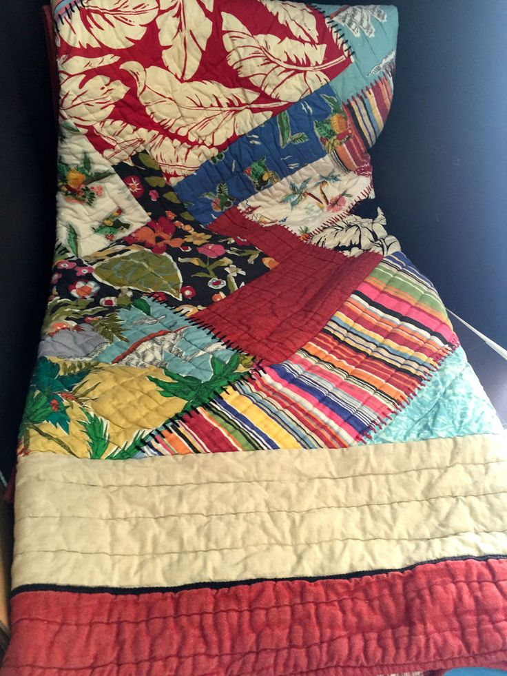 Pottery Barn Hawaiian Island Full Queen Quilt 2 Sham Beach