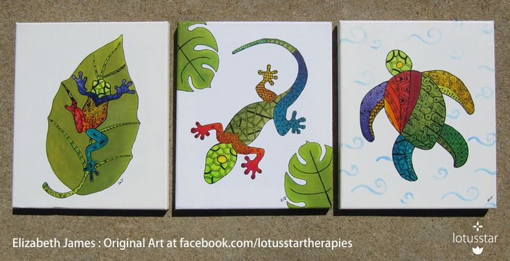'Tree Frog', 'Gecko' and 'Sea Turtle' in acrylic and ink on 10x12inch stretched canvas by Elizabeth James. Originals available via http://www.facebook.com/media/set/?set=a.675692062503221.1073741835.318539891551775&type=3  #frog #treefrog #gecko #lizard #seaturtle #turtle #acrylic #painting #ink #zentangle #art #elizabethjames #lotusstar #adelaide