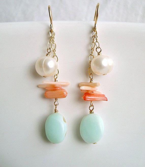 Peach Coral Blue Opal Earrings Gold Filled by BellaAnelaJewelry, $32.00