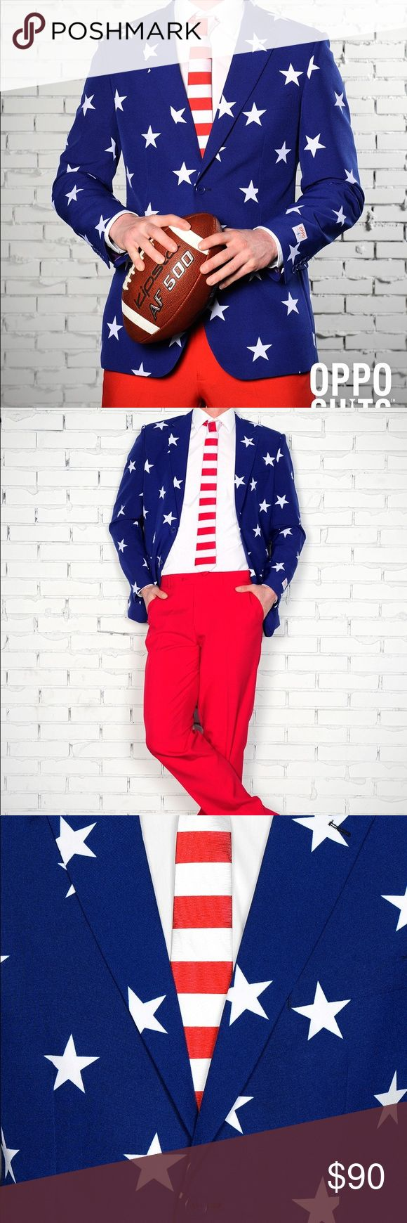 American flag suit - Halloween Blue blazer with white stars (EU54/UK 44/US 44) and red pants (EU54/UK 44/US 44) and white and red tie OppoSuits Other