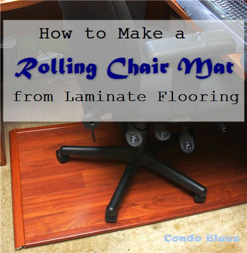 How to make a DIY rolling office chair mat with leftover or reclaimed laminate flooring.