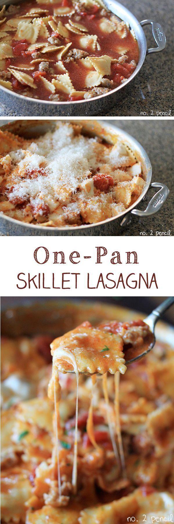 One-pan skillet lasagne made with ravioli