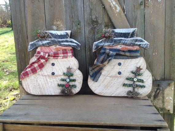 Primitive Snowman Country Primitive Wood Snowman by LnMPrimitives