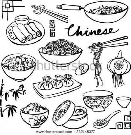 Chinese food icons vector doodle set