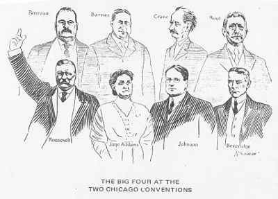 Pro-(Theodore) Roosevelt cartoon contrasts the Republican Party bosses in the back row and Progressive party reformers in front. The Two Chicago Conventions, 1912.