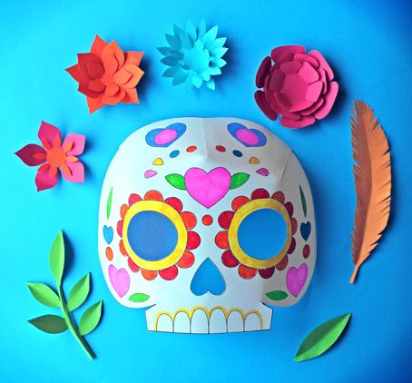 Day Of The Dead Party Ideas Color In Calavera Masks
