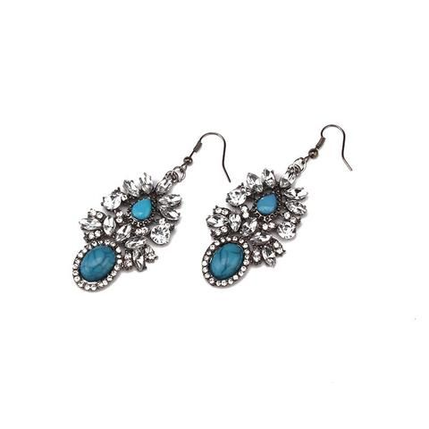 Boho Turquoise and rhinestone vintage earrings