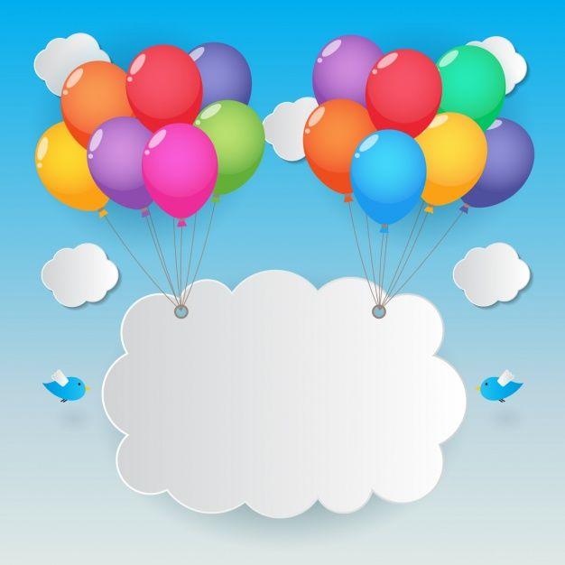 Nube levantada por globos de colores Vector Gratis
