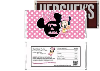 Baby Minnie Candy Bar Wrapper It's a Girl - Baby Shower Party Supplies