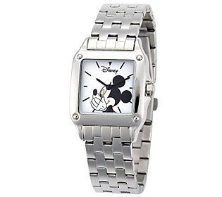 Disney Womens Square Stainless Steel Mickey Watch