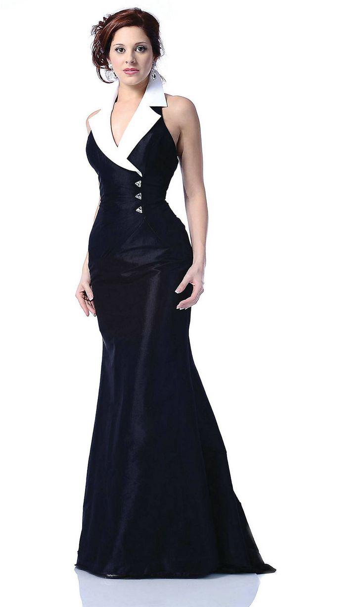 Black And White Evening Dress Dresses V Neck Halter