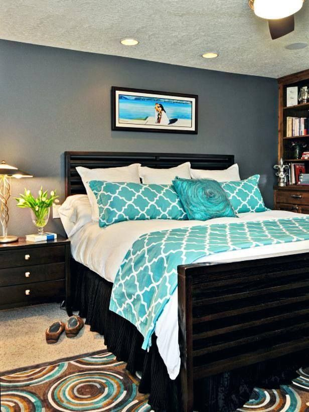 Grey and Teal Bedroom Ideas | Gray instead of teal, please.
