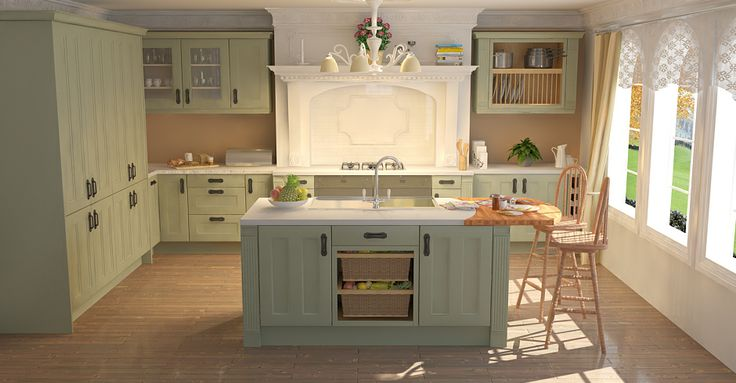 Green country kitchen the image kid has it for Sage green kitchen units