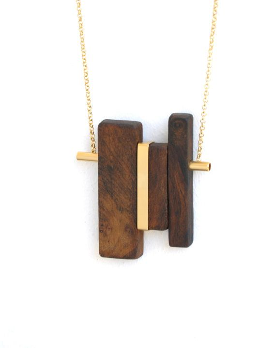 LINE 2 gold - Wood pendant necklace and gold-plated elements.Free shipping.