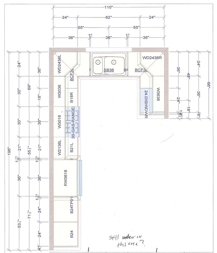 L-Shaped Kitchen Layout With Perpendicular Dishwasher