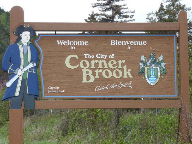 the Welcome to Corner Brook sign I had designed and built when I worked with the Downtown Business Association