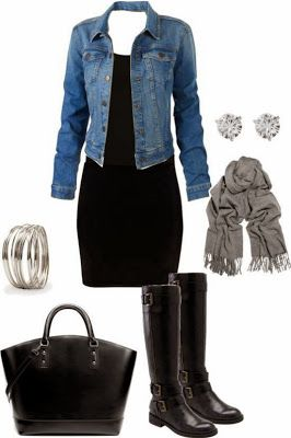 Black dress and denim jacket outfit