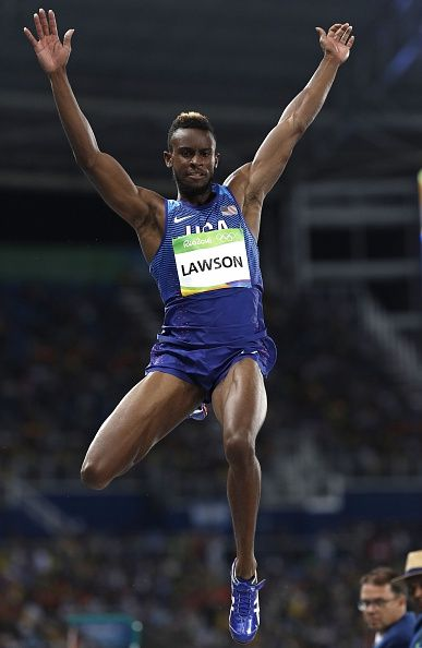 USA's Jarrion Lawson competes in the Men's Long Jump Final during the athletics…