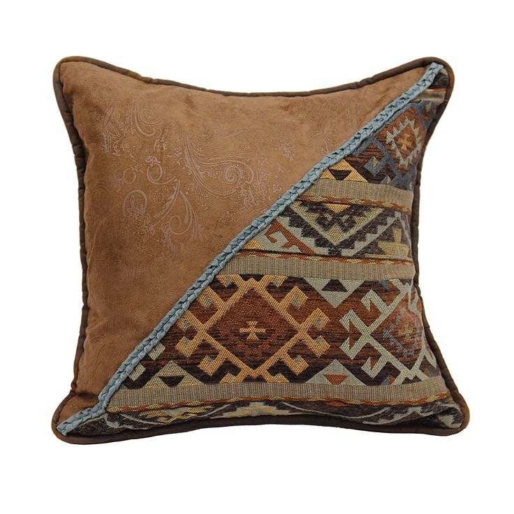 HiEnd Accents Southwestern 18-inch Square Throw Pillow With Studs And Velvet