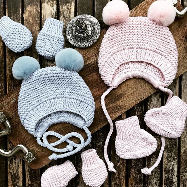 WEBSTA @olgaolga_herb Saturday's shipment  in Baby pink and baby blue  _______________________________________ All Knitwear made by me @olgaolga_herb !  Cutest baby Merino hats ,booties