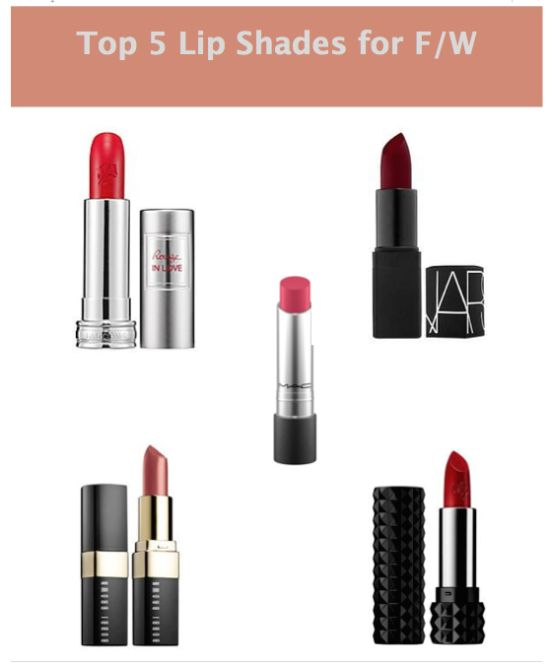 Top 5 Lip Shades for Fall/Winter