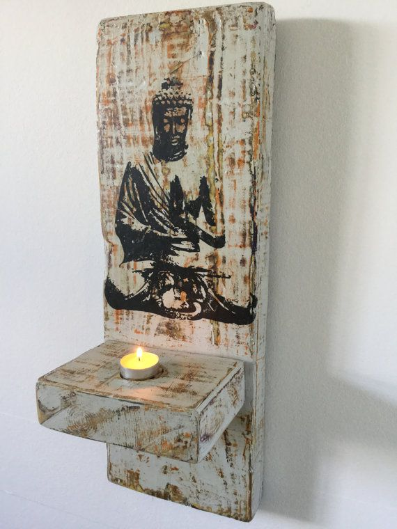 Buddha Wall Stencil Living Room Decor Tea-Lite Candle by Kikozo