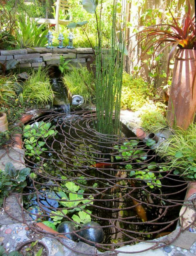 A creative pond cover to help keep kids around the pond for Garden pond safety covers