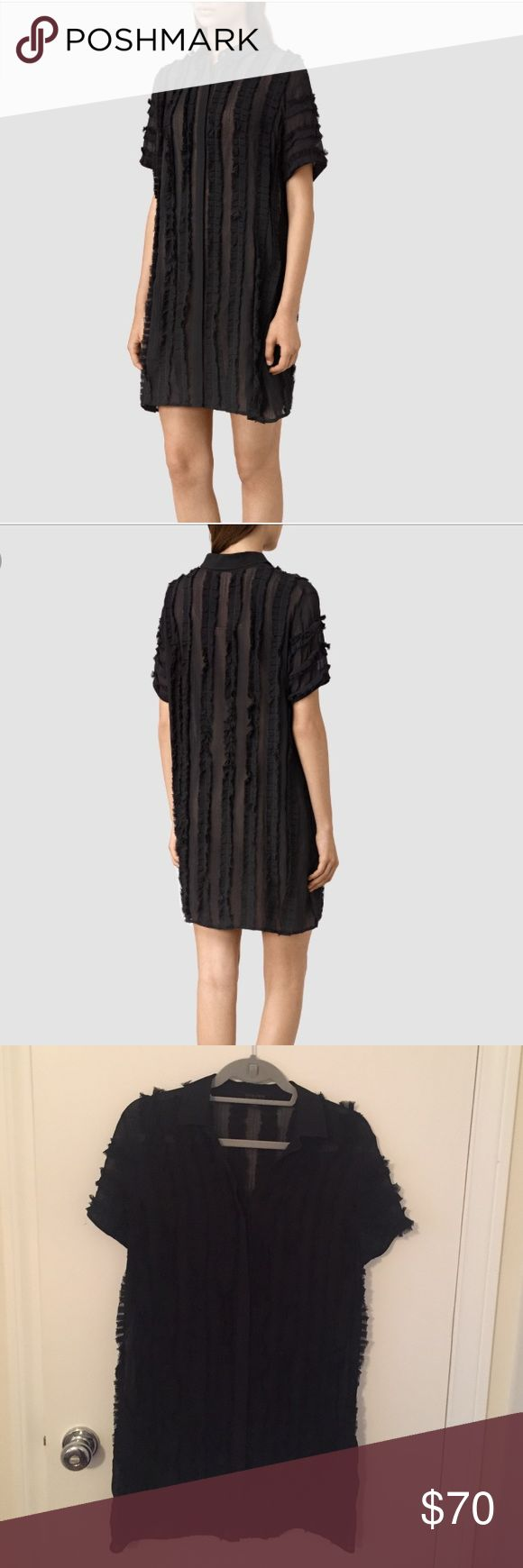 All Saints Emrys Ruffle Shirt Dress Black ruffled shirt dress. Do not have original slip but can provide a blk one. This is a size 0 but I am typically a 4-6 and this fit fine. Great condition, only worn twice All Saints Dresses Mini
