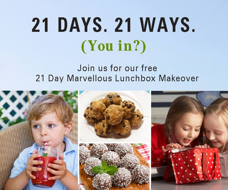 The 21 Day Marvellous Lunchbox Makeover is here!   Receive daily tips, recipes and inspiration for 21 days of healthy creations to put in your kids lunchboxes, that don't always include food. It's time to get back to healthy eating!